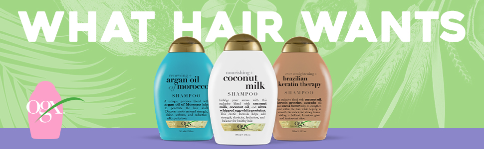 Ogx organic haircare shampoo conditioner best haircare products hair treatment coconut milk pantene