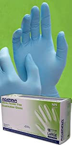 NPF Nitrile Blue Disposable Gloves 5.5 mil thick textured tattoo auto law enforcement medical EMS