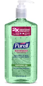 soothing gel, aloe, large bottle, classroom sanitizer, kill germs, clean hands, work sanitizer