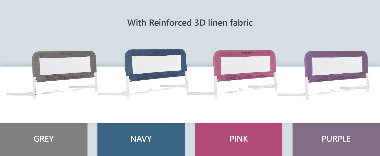 bed rail for convertible crib, bed rail in grey, navy bed rail for crib, baby crib bed rail in pink