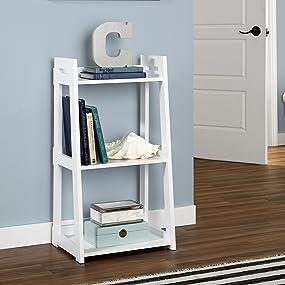white shelf, white bookcase, white ladder shelf, living room bookshelf, hallway bookshelf