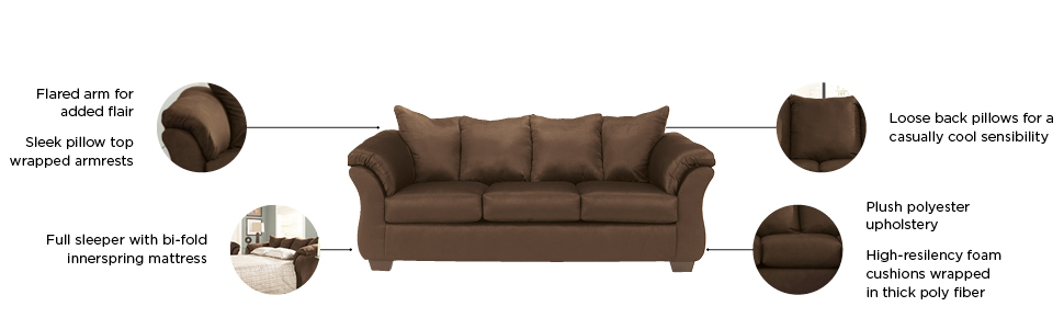 Astonishing Signature Design By Ashley Darcy Full Size Ultra Soft Upholstery Sleeper Sofa Cafe Brown Ocoug Best Dining Table And Chair Ideas Images Ocougorg