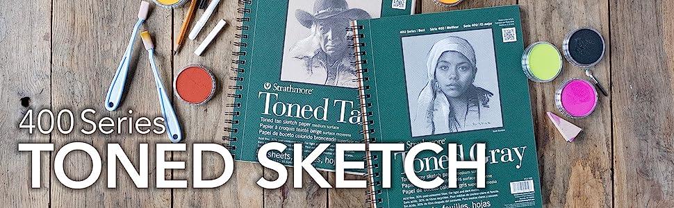 Strathmore 400 Series Toned Sketch paper. Toned sketchbook