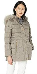 Anne Klein Short Down Coat with Faux Fur Hood