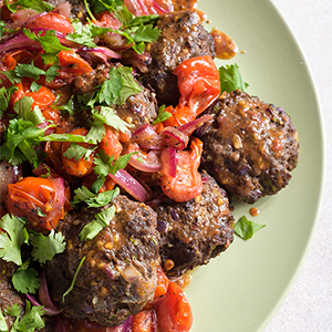 Spicy Ground Beef Kebabs with Tomato-Sumac Sauce