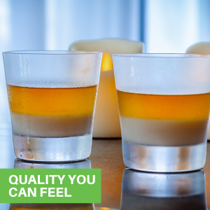 These crystal old fashioned glasses are made from lead-free crystal that displays colors in drinks.