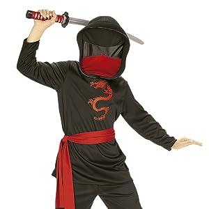 Rubies - Disfraz de ninja para niños, color negro, 8-10 años (12109-L)
