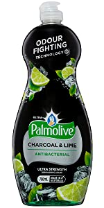 Palmolive Ultra Strength Antibacterial Charcoal & Lime Dishwashing Liquid with Odour Fighting