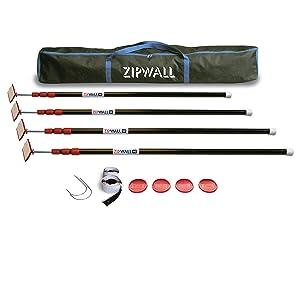 ZipWall ZP4 ZipPole 10 foot Spring Loaded Dust Barrier Poles (Pack of 4)