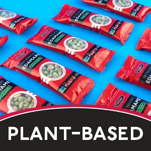 """2 packets of edamame next to edamame pods and a teaspoon filled with salt. Text reads """"Plant-Based."""""""