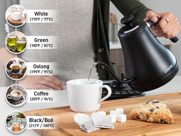 Select the temperature with 5 touch controls, and use Hold Temperature to keep your water warm