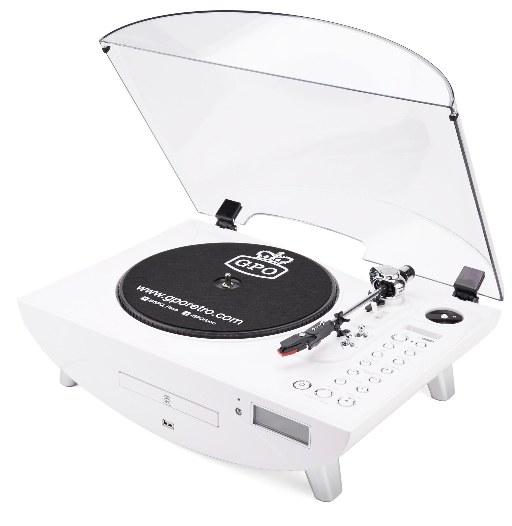Amazing Gpo Jive Record Player Retro 3 Speed Vinyl Turntable Cd Fm Radio Mp3 Usb Speakers White Pabps2019 Chair Design Images Pabps2019Com