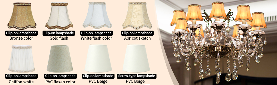 Chiffon lampshade candle crystal chandelier lamp Clip type lamp holder lamp Head Light Lamp cover:035 R TOOGOO