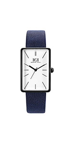 Women Three-Hand Navy Leather Watch ...