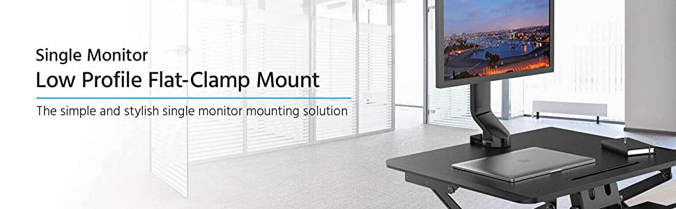 """Monoprice Single Monitor Low Profile Flat-Clamp Mount for Screens Up to 32"""""""