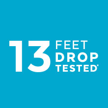 13-foot drop-protection with IMPACTIUM CLEAR cushioning