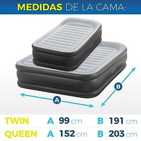 Intex - Colchón hinchable Intex fibertech deluxepillow 152x203x42 cm - 64436