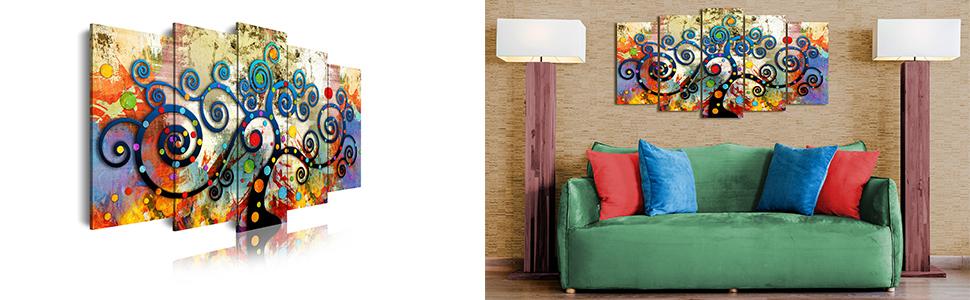 DEKOARTE 486 Cuadro Moderno en Lienzo, Estilo Abstracto árbol de la Vida Gustav Klimt de Colores, Multicolor, 5 piezas (150x80x3cm)