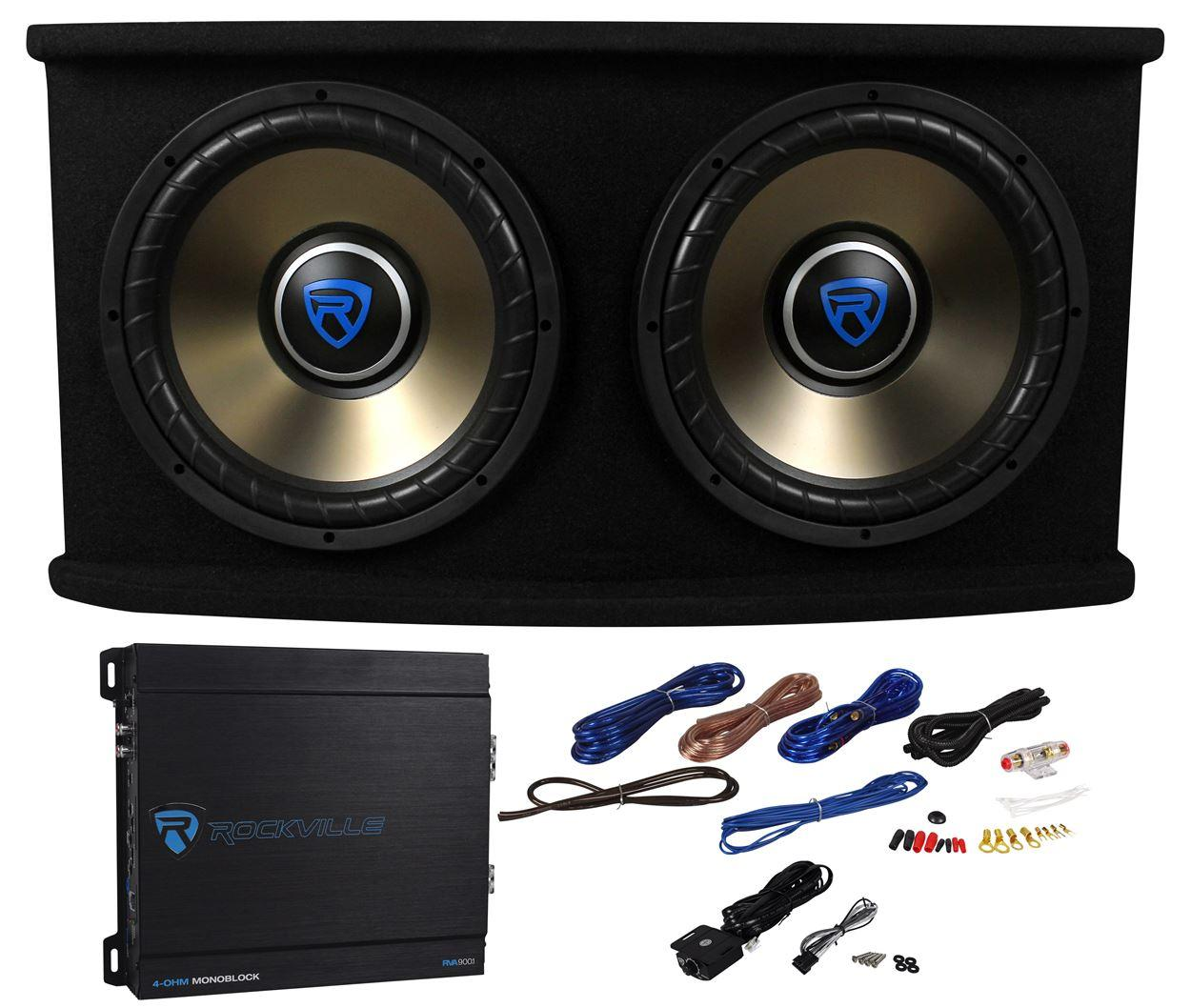 Rockville Rvspl122 Dual 12 1800w Car Subwoofer Sub Box Jl Audio Amp Wiring Wires Bass Package