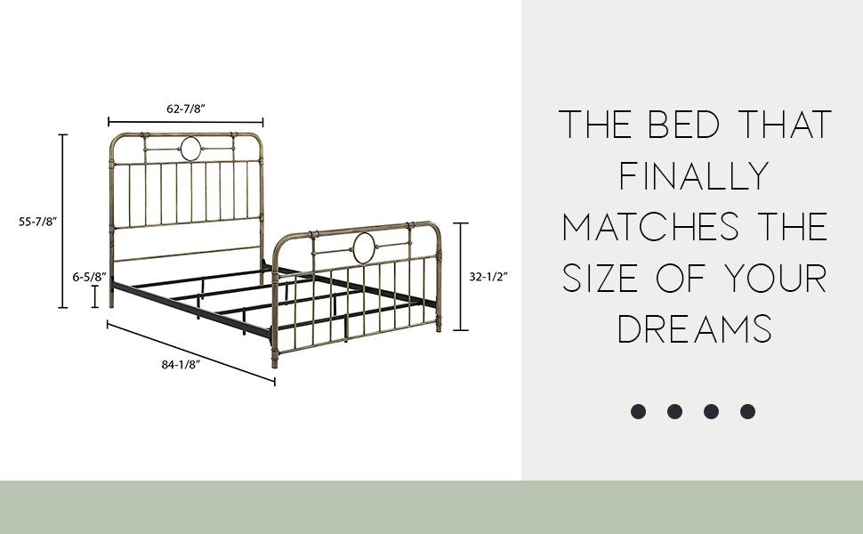 Vintage Metal Iron Pipe Queen Size Bed Headboard Bedroom, Queen,