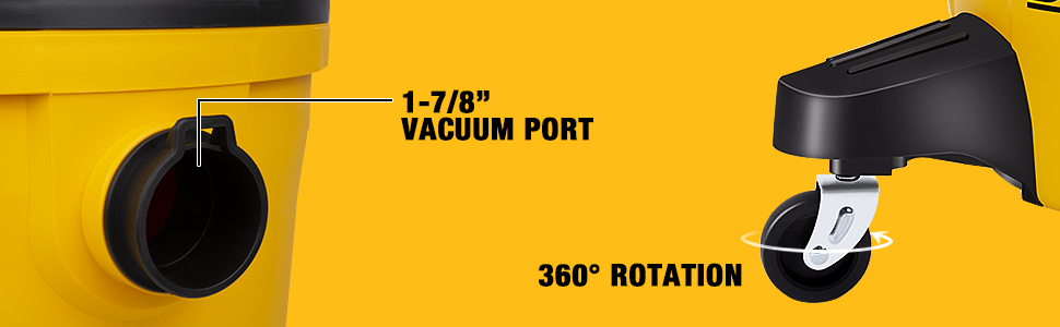 shop vac with 360 degree rotation casters