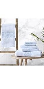 towel,quick dry, durable, soft, cotton, blue towel set, 6 piece towel set, multi, bath, hand, wash