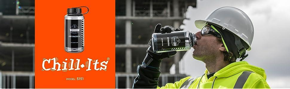 ERGODYNE 5151 Water Bottle,1L,Orange,BPA Free