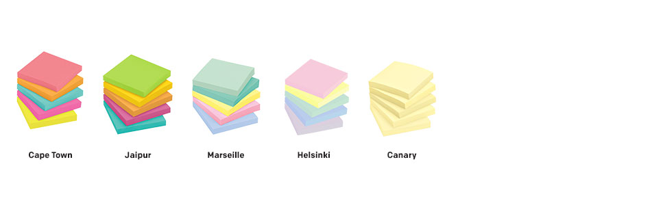Post-it Notes in colors Cape Town, Jaipur, Marseille, Helsinki and Canary
