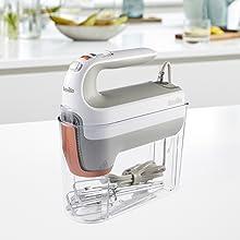 HeatSoft Hand Mixer in storage case, kitchen background