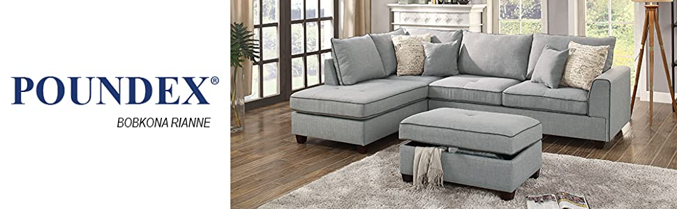 Poundex PDEX- Living Room Chaise Lounges, Light Blue