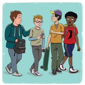 Cartoon image of young teens in a a group.