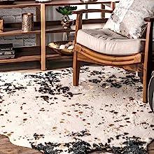 area rug, rug, cow hide