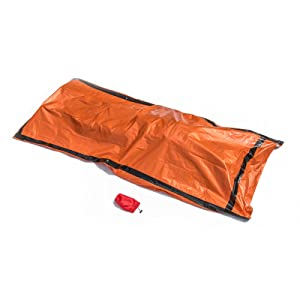 Orange Emergency Sleeping bag fits compactly into the included red drawstring pouch