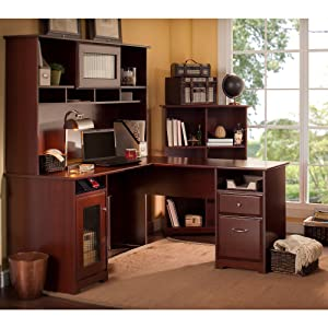 Bush Furniture, Cabot Collection, Office Furniture, Home Office, Desk,  Hutch,