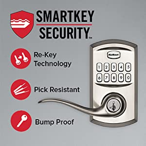 Satin Nickel Kwikset 99170-001 SmartCode 917 Keypad Keyless Entry Traditional Residential Electronic Lever Deadbolt Alternative with Tustin Door Handle and SmartKey Security