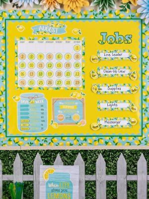 lemon zest theme classroom using lemon yellow, boxwood and white wood better than paper