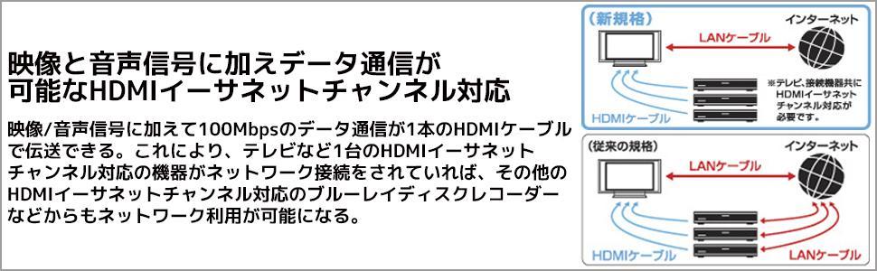 映像/音声信号に加えて100Mbpsのデータ通信が1本のHDMIケーブルで伝送できます。これにより、テレビなど1台のHDMIイーサネットチャンネル対応の機器がネットワーク接続をされていれば、その他のH