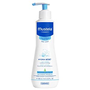 Mustela hydra baby lotion bottle with pump is a hypoallergenic, daily hydrating skin care routine.