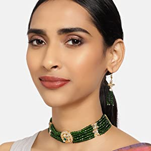 Zaveri Pearls,jewellery,necklace,gree set,set,jewellery set,crystal set,kundan set,choker set,long