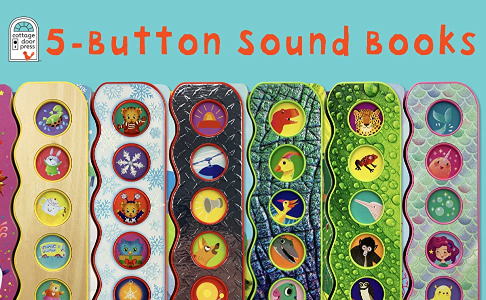 five button sound song board book dinosaurs daniel tiger mermaid rainforest helicopter fire truck
