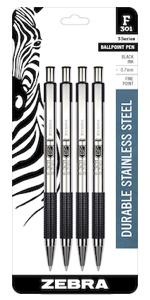 zebra pen, stainless steel ballpoint pen closeup, refillable, available in multiple point sizes