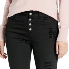 black exposed button jeans