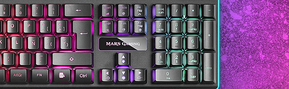 Mars gaming MK320, Teclado RGB H-Mech, Reposamuñecas Acolchado, Portugués