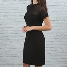 Little black dress short sleeve mock neck chemical lace sexy illusion midi red carpet party outfit