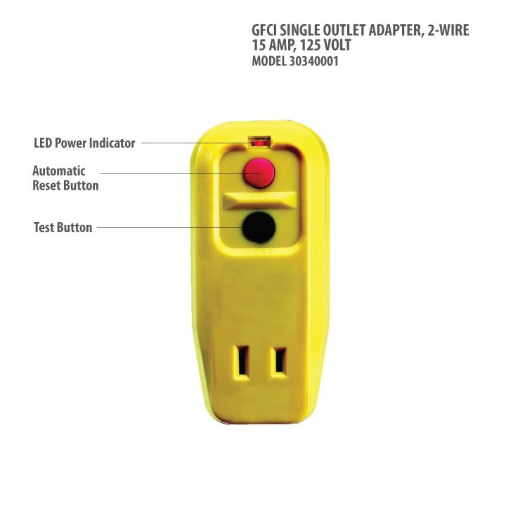 Tower Manufacturing 30340001 Auto-Reset 15 AMP 2-Prong GFCI Single ...