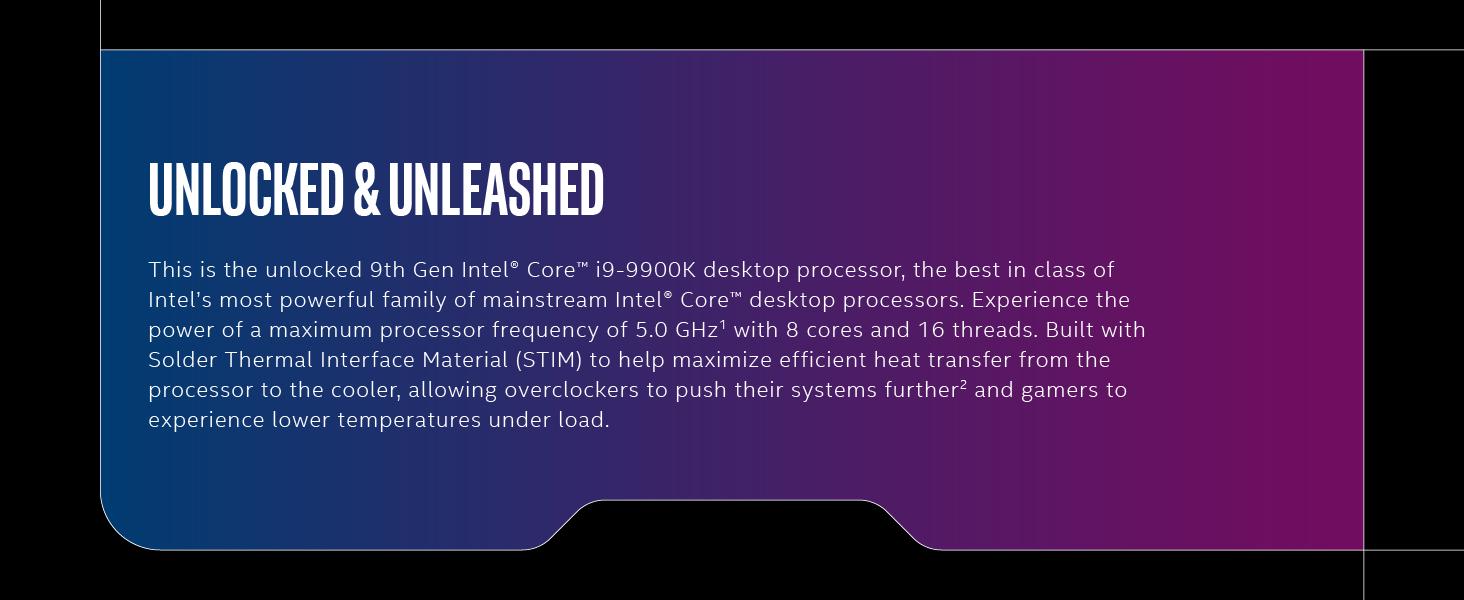 Intel Core i9-9900K Desktop Processor 8 Cores up to 5 0 GHz Turbo unlocked  LGA1151 300 Series 95W