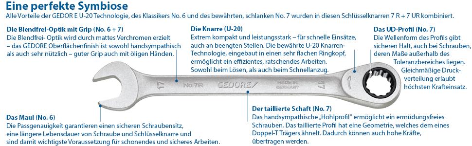13 x 17 mm GEDORE 34 13x17 Doppel-Gelenkschl/üssel UD-Profil 13x17 mm