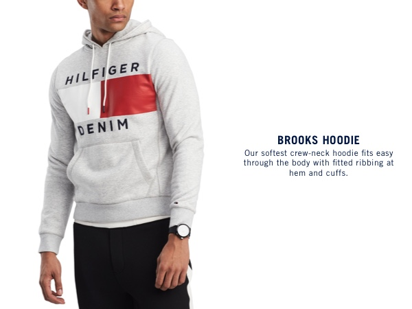 Our softest crew neck hoodie fits easy through the body with fitted ribbing at hem and cuffs.