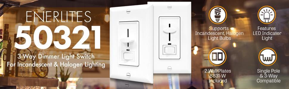 Light Dimmer Enerlites 50321W 3Way Dimmer Switch for Energy Saving