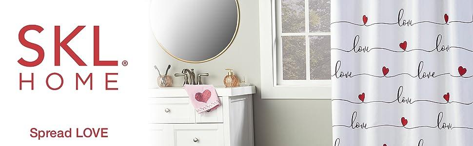 skl home, valentines, valentine decor, home decor, love home decor, love shower curtain, valentine